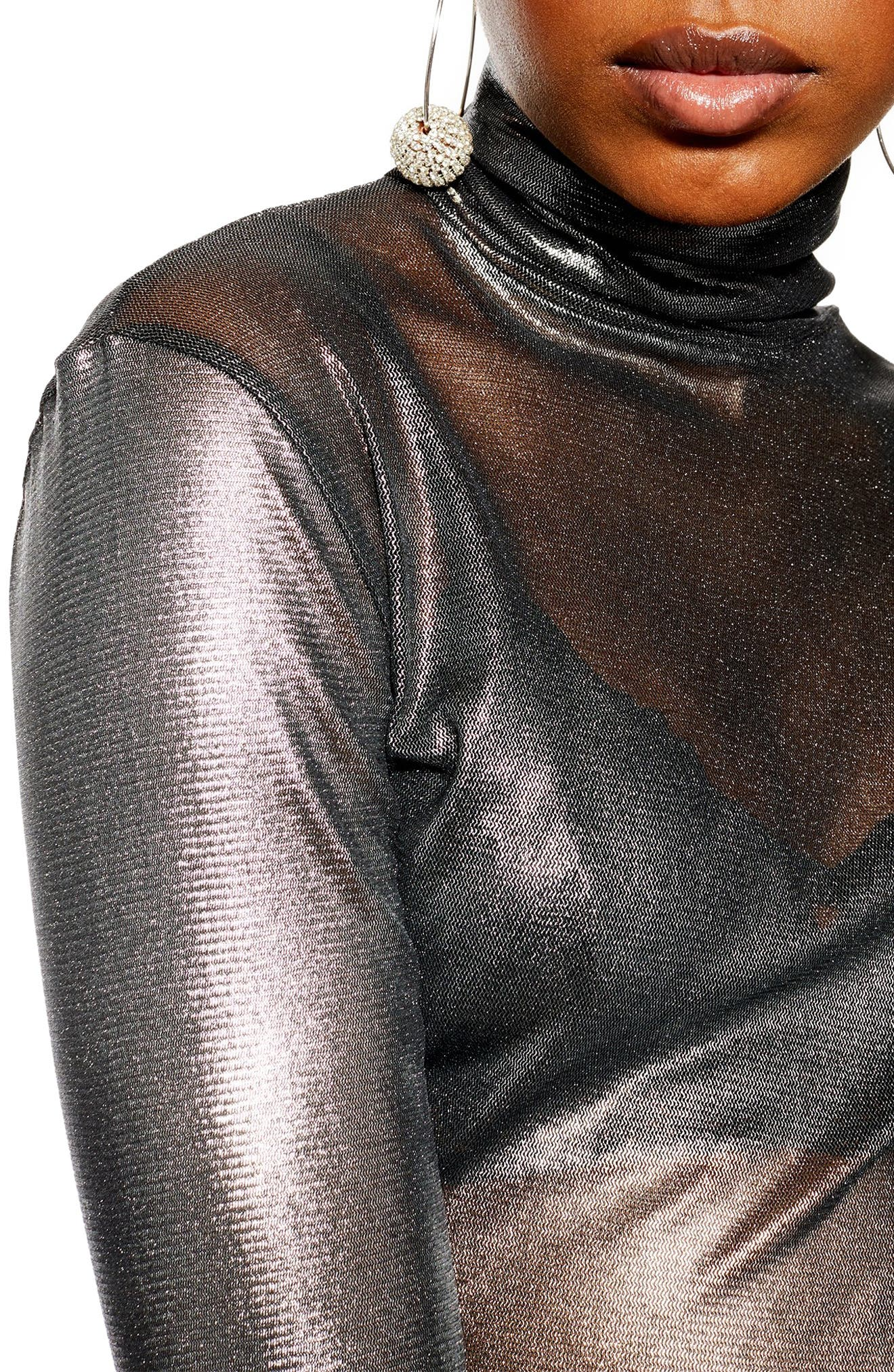 ,                             Metallic Funnel Neck Top,                             Alternate thumbnail 3, color,                             040