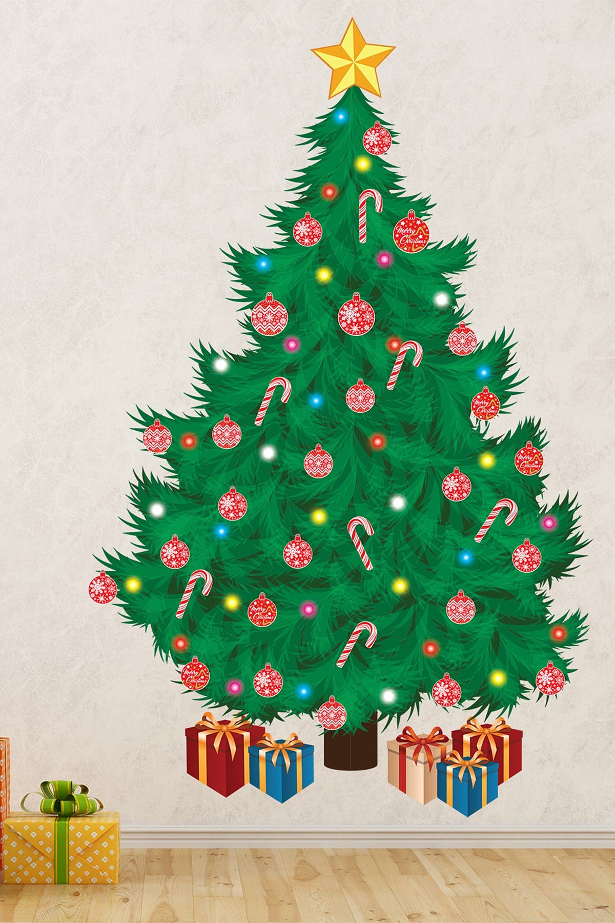 Image of WalPlus Traditional Christmas Tree Green & Red Wall Decal
