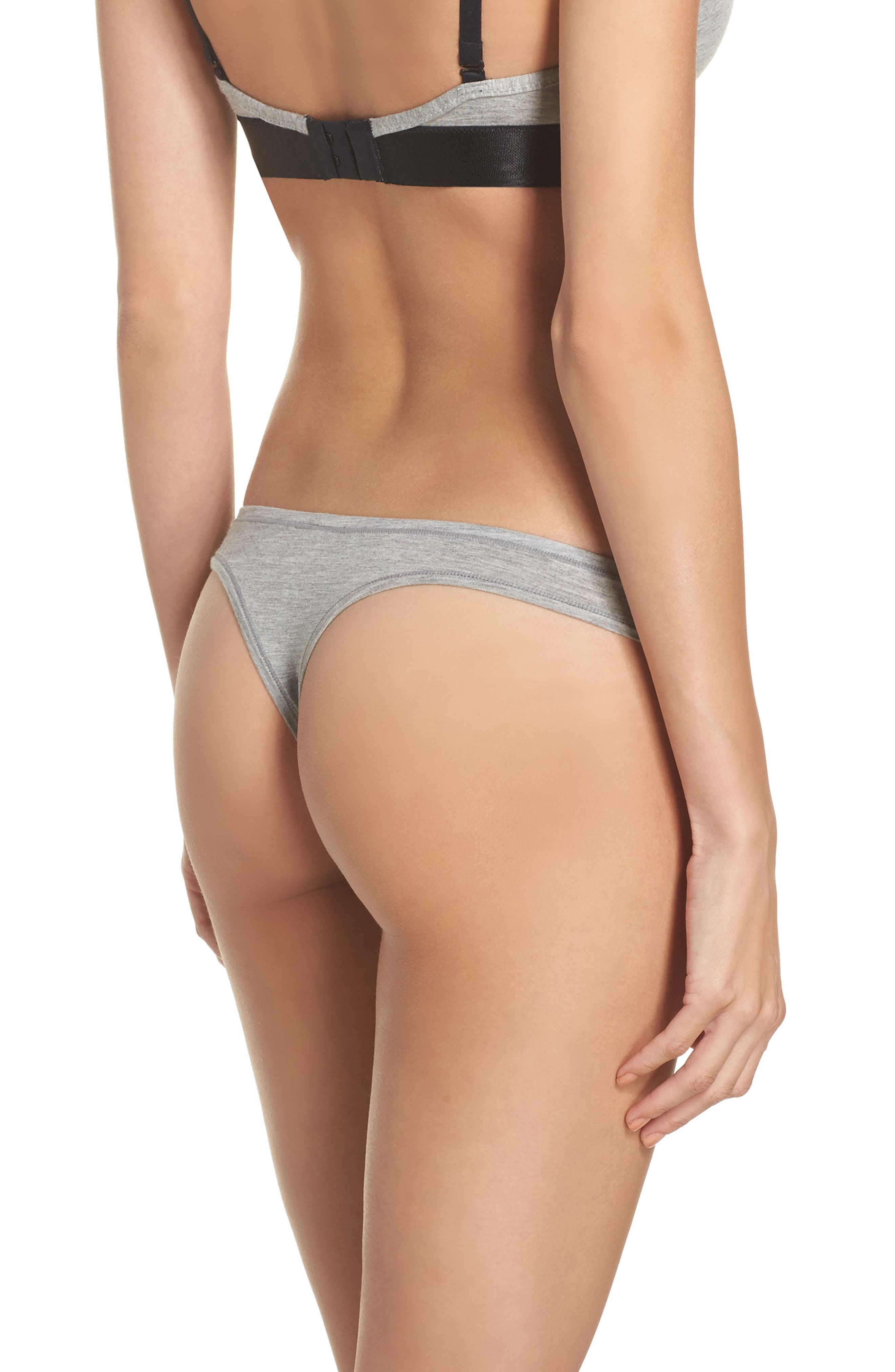 ,                             Micromodal Thong,                             Alternate thumbnail 2, color,                             GREY FROST HEATHER