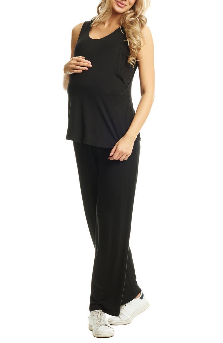 EVERLY GREY Jacqueline Maternity/Nursing Tank & Pants, Main, color, BLACK