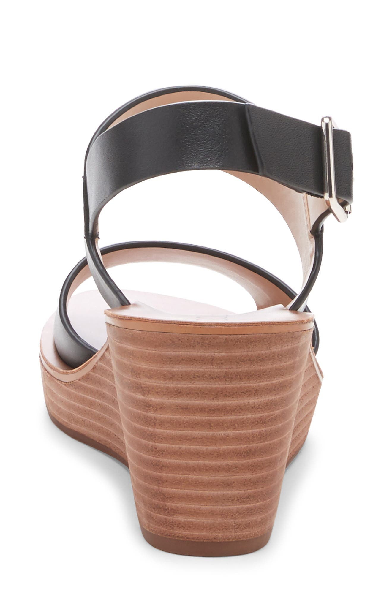 ,                             Pavlina Platform Wedge Sandal,                             Alternate thumbnail 7, color,                             BLACK LEATHER
