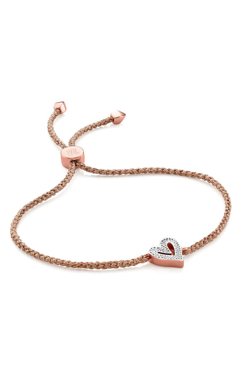 MONICA VINADER Alphabet Heart Diamond Friendship Bracelet, Main, color, ROSE GOLD/ DIAMOND