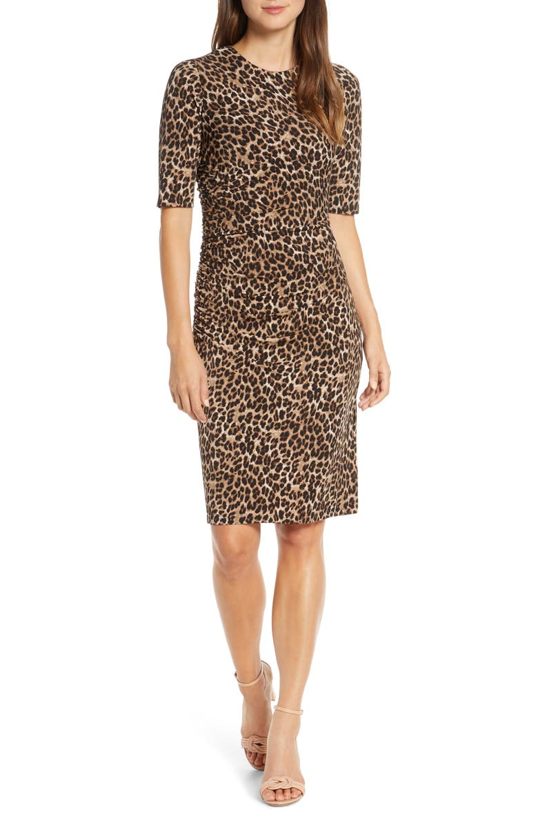 VINCE CAMUTO Leopard Print Body-Con Dress, Main, color, LEOPARD
