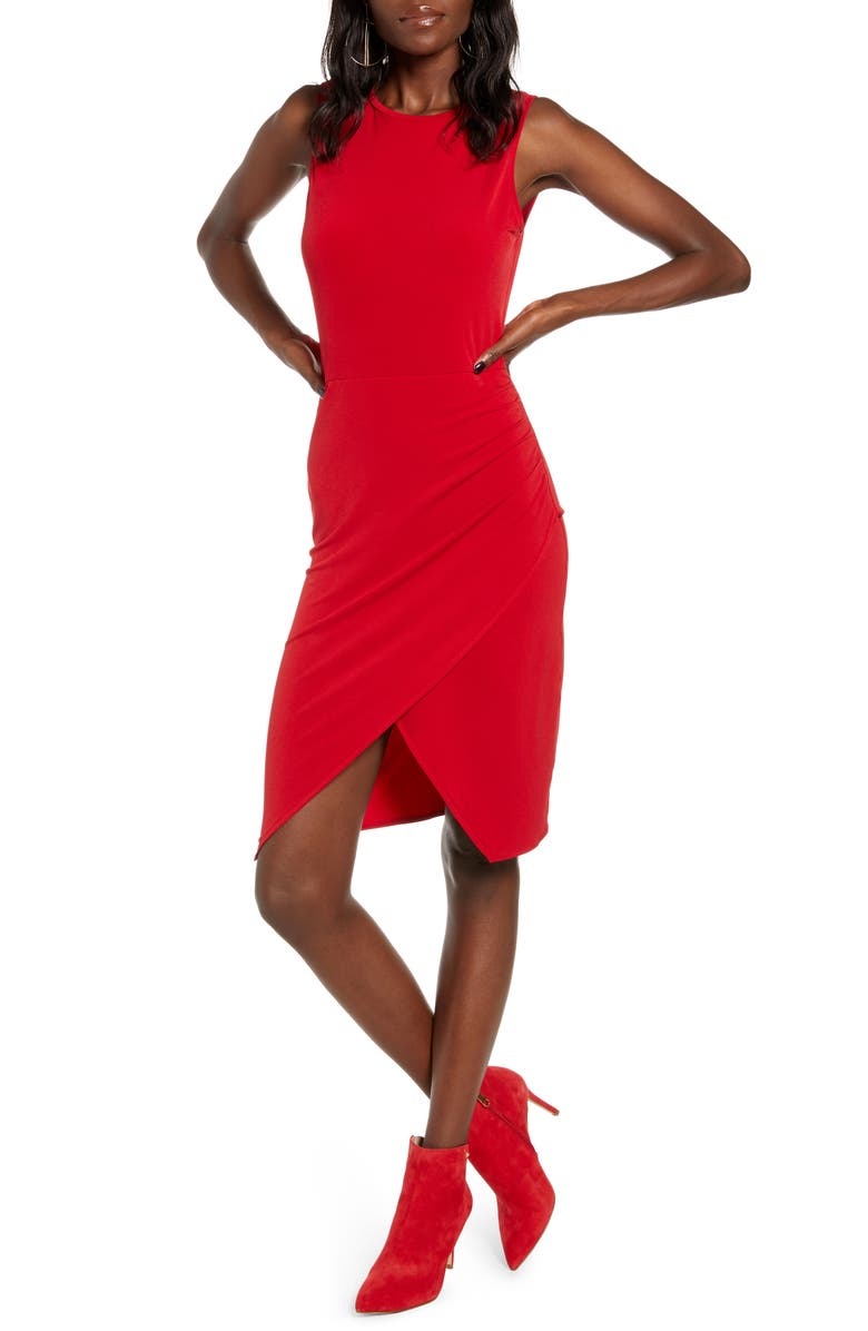 LEITH Sleeveless Body-Con Dress, Main, color, RED CHILI