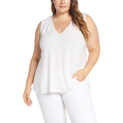 Plus Size Lucky Brand Applique Henley Top, White
