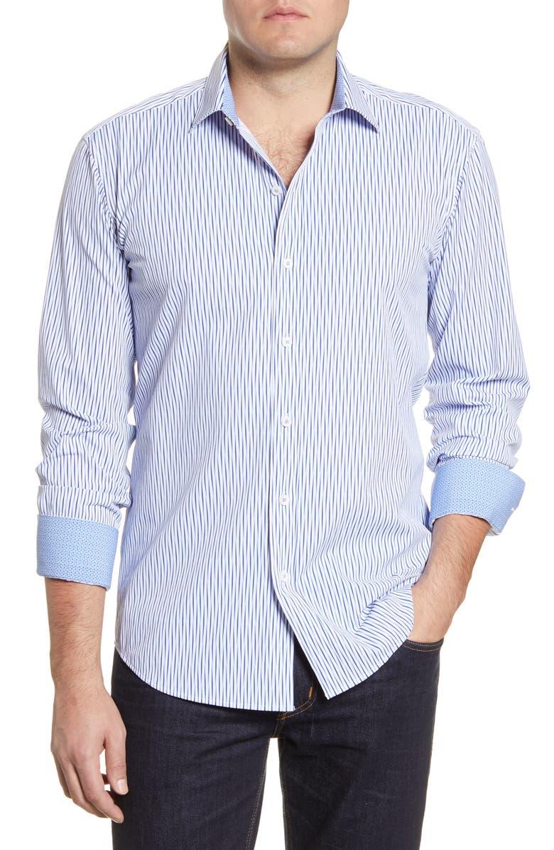 BUGATCHI Shaped Fit Stripe Button-Up Performance Shirt, Main, color, 422