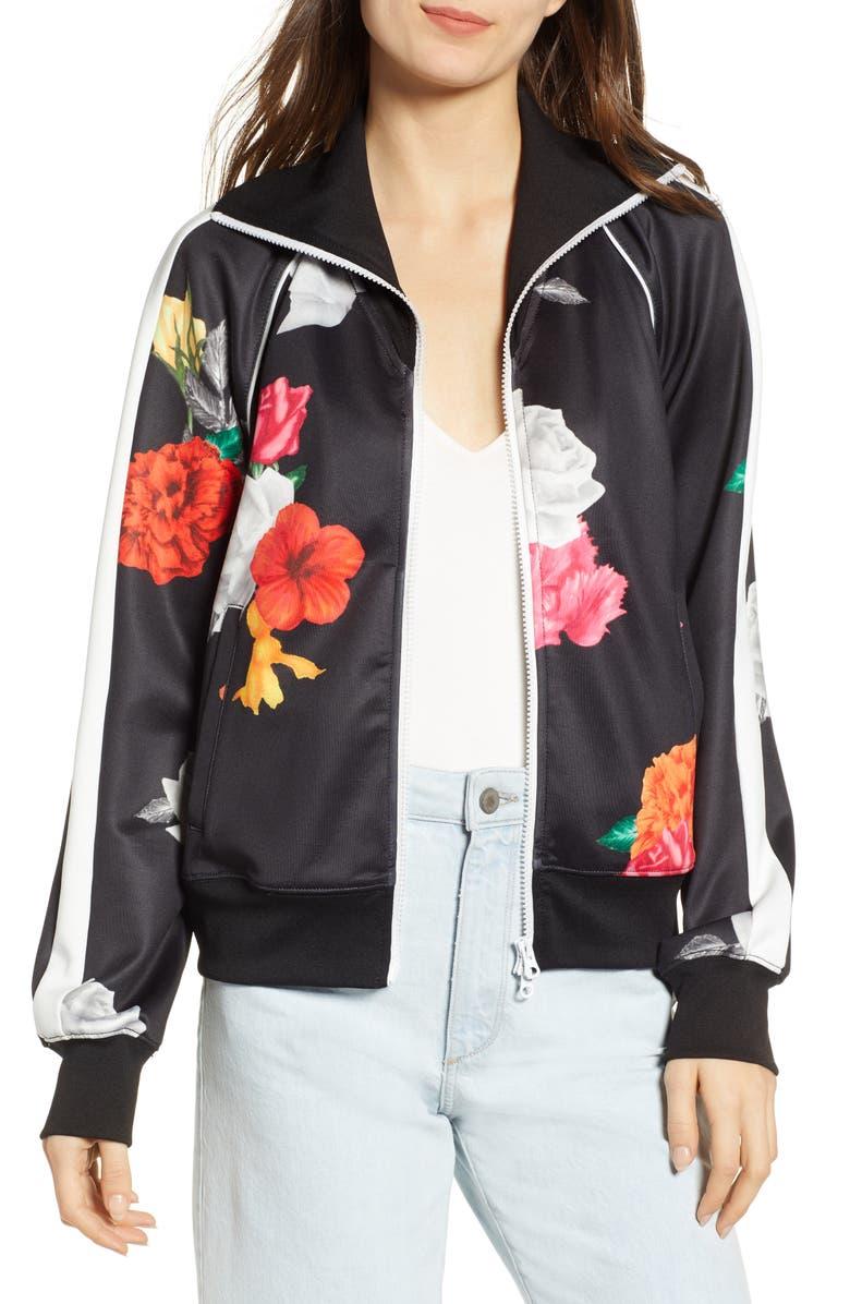 PAM & GELA Floral Track Jacket, Main, color, 001