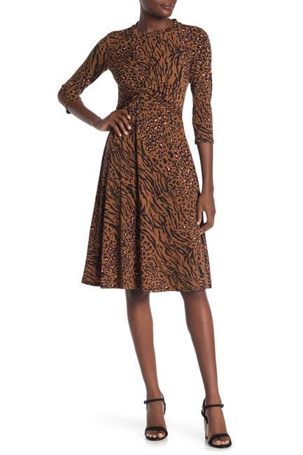 Image of Donna Morgan 3/4 Sleeve Front Twist Animal Print Dress