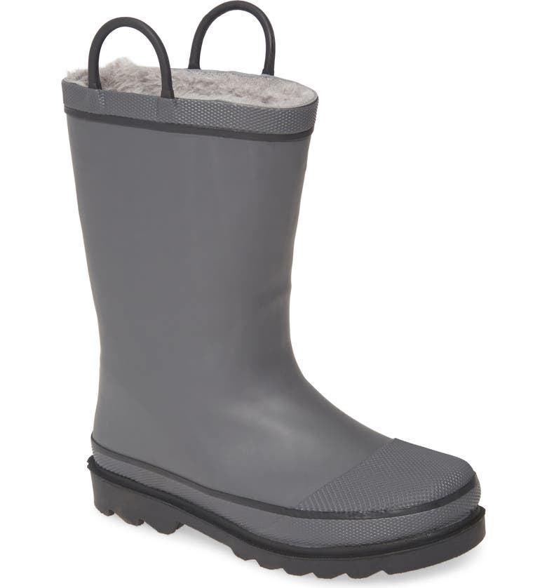 WESTERN CHIEF Winterchief Faux Fur Lined Waterproof Rain Boot, Main, color, CHARCOAL