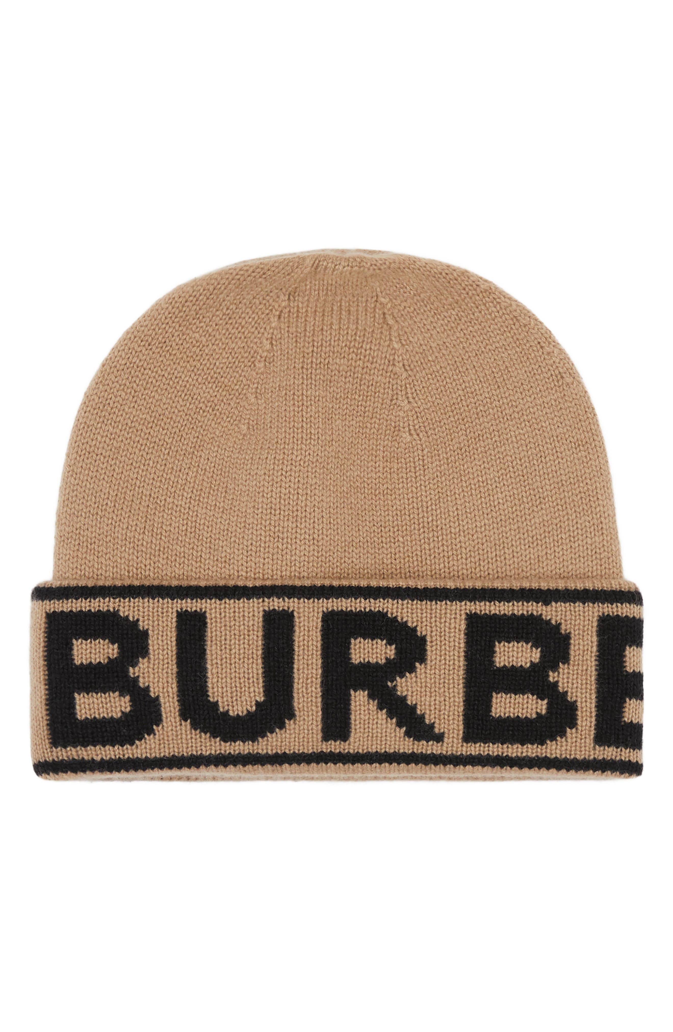 Burberry\\\'s refreshed logo details the cuff of this premium beanie knit from cozy-soft cashmere yarns. Style Name: Burberry Intarsia Logo Cashmere Hat. Style Number: 5948982. Available in stores.