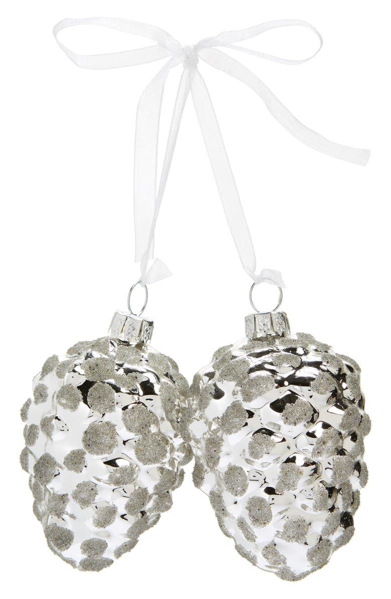 NORDSTROM Set of 2 Metallic Acorn Ornaments, Main, color, SILVER