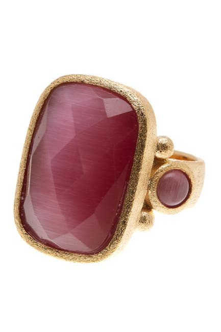 Image of Rivka Friedman Faceted Raspberry Cat's Eye Crystal Satin Rectangle Ring