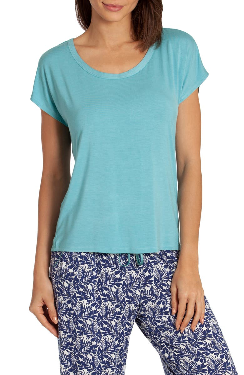 IN BLOOM BY JONQUIL Kauai Short Sleeve Pajama Top, Main, color, AQUA