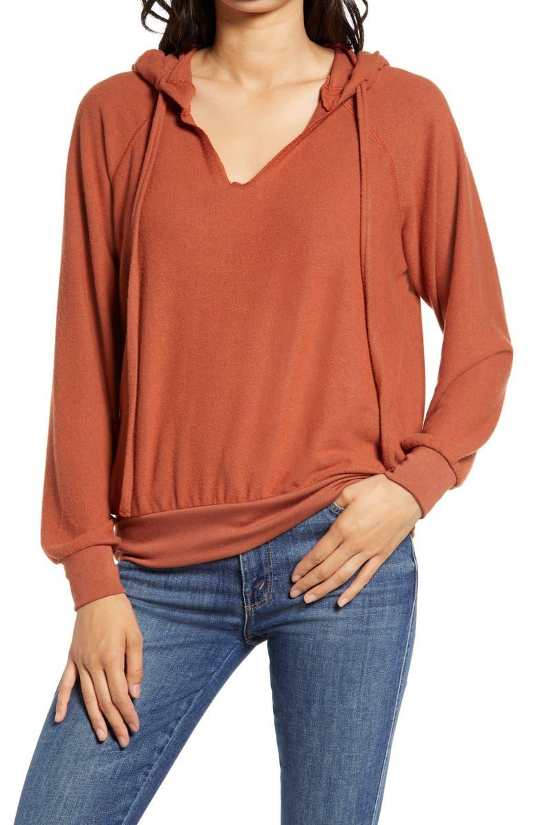 TREASURE & BOND Cozy V-Neck Hooded Sweatshirt, Main, color, RUST SEQUOIA HEATHER
