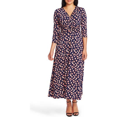 Chaus Peony Print Ruched Midi Dress, Blue