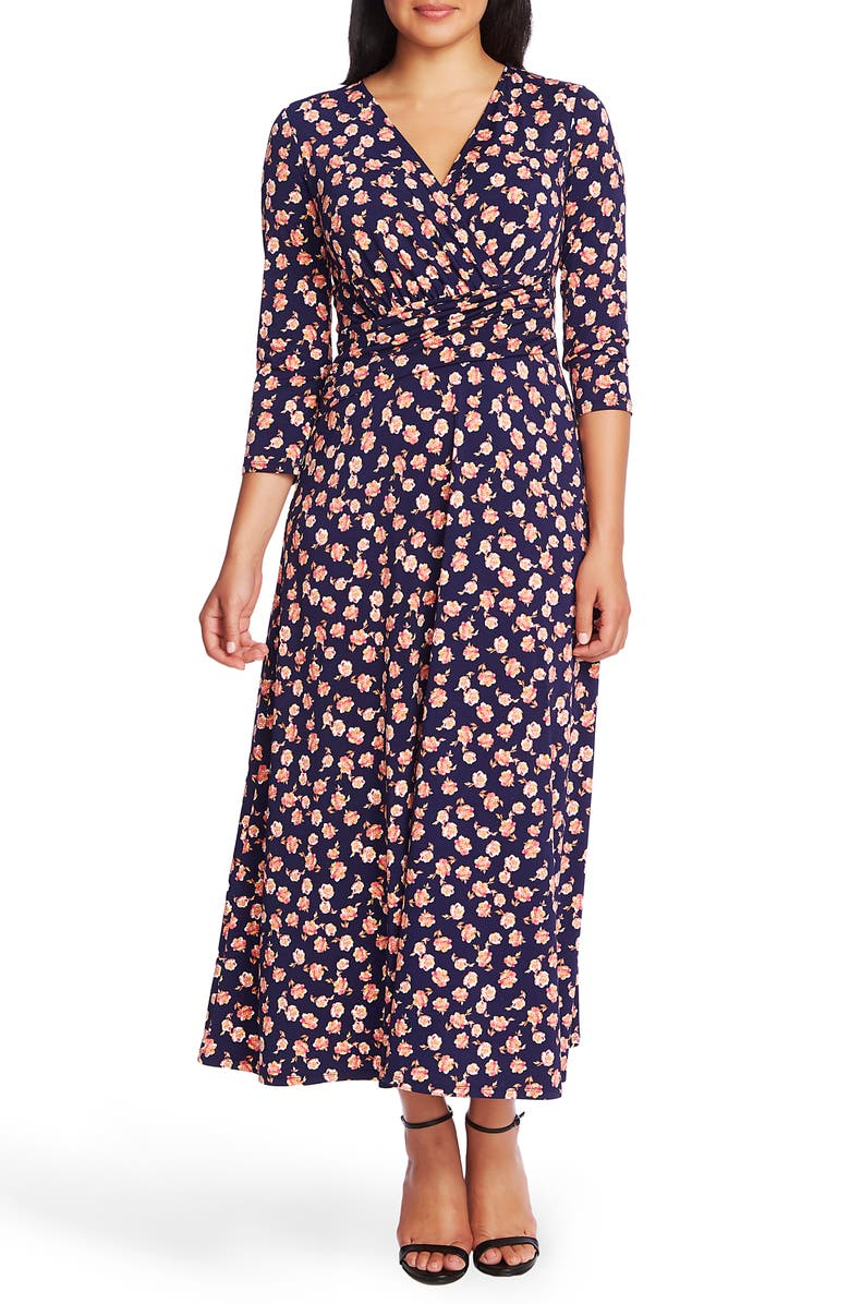 CHAUS Peony Print Ruched Midi Dress, Main, color, EVENING NAVY