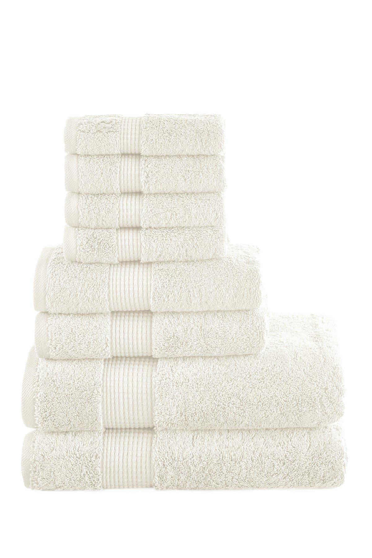 Image of Modern Threads Manor Ridge Turkish Cotton 700 GSM 8-Piece Towel Set - Ivory