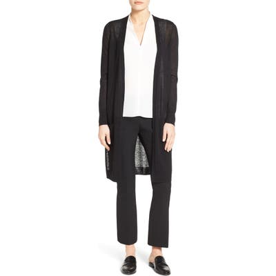 Petite Halogen Long Linen Blend Cardigan, Black