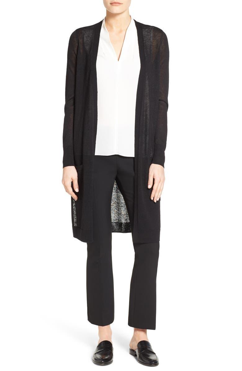HALOGEN<SUP>®</SUP> Long Linen Blend Cardigan, Main, color, BLACK