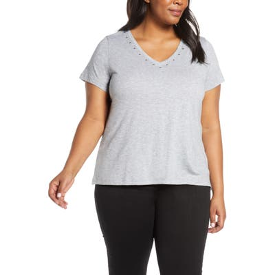 Plus Size Vince Camuto Studded V-Neck Tee, Grey