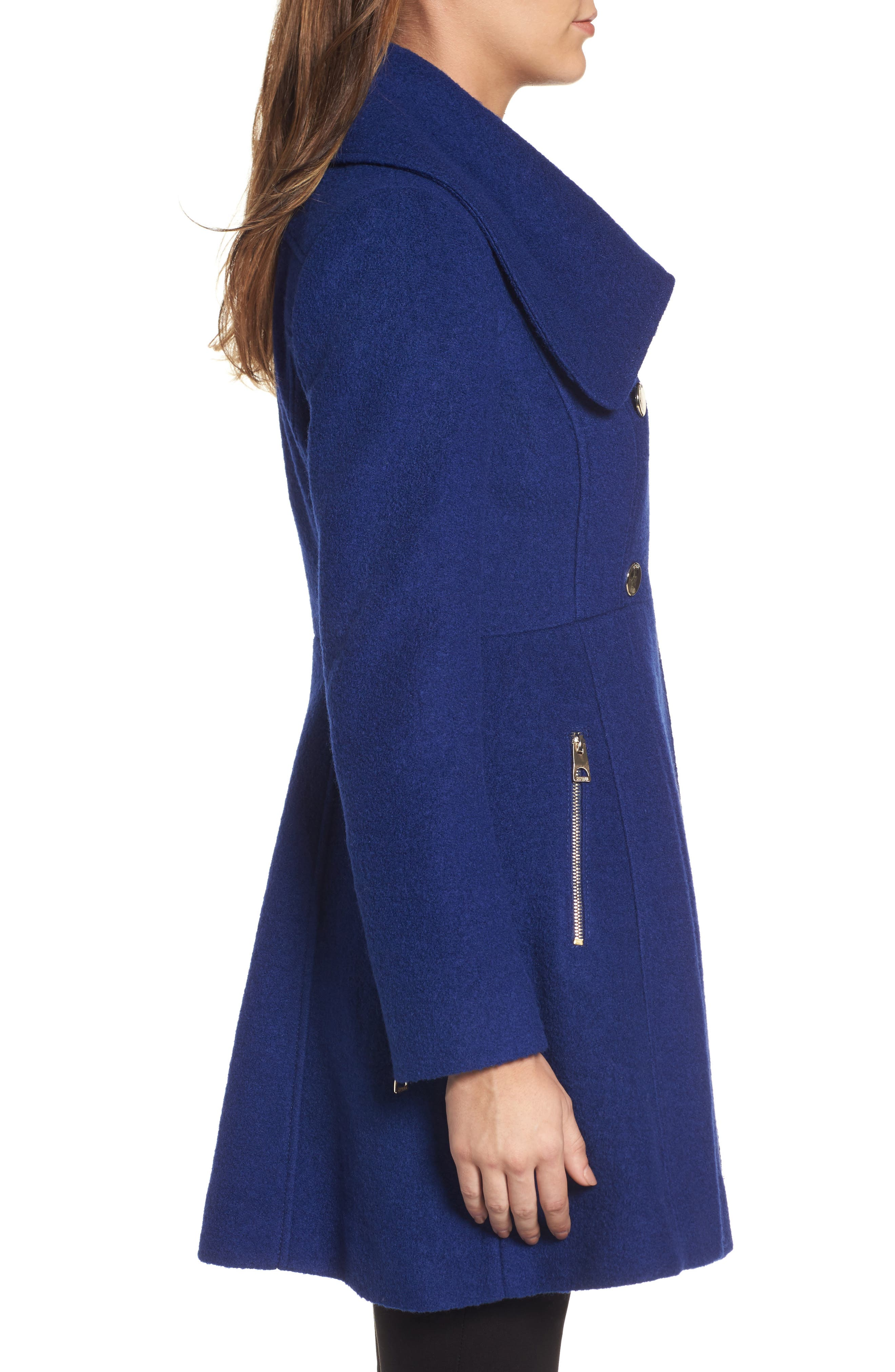 ,                             Envelope Collar Double Breasted Coat,                             Alternate thumbnail 13, color,                             433
