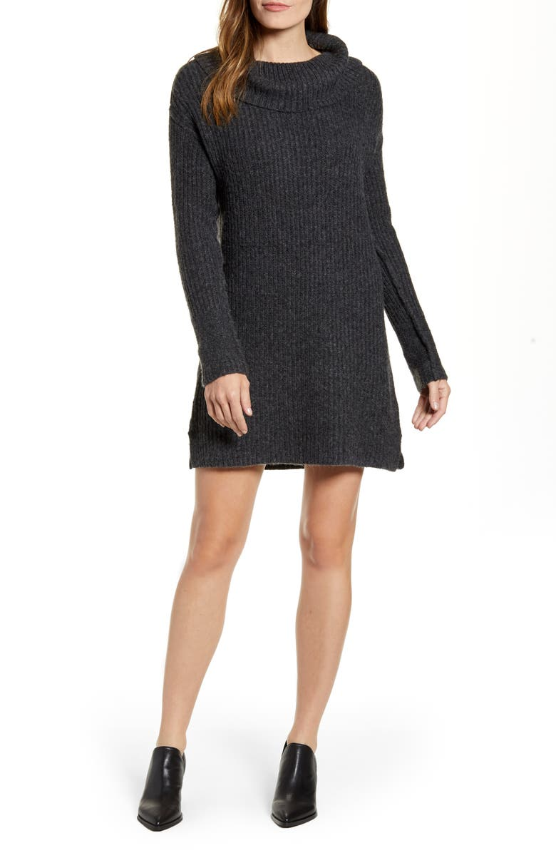 CASLON<SUP>®</SUP> Calson<sup>®</sup> Cozy Links Long Sleeve Sweater Dress, Main, color, GREY DARK CHARCOAL HEATHER