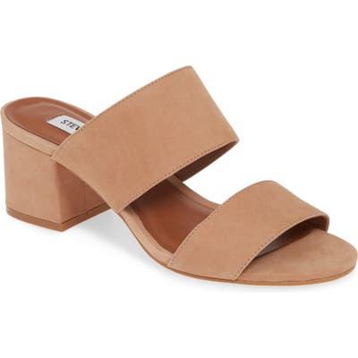 Steve Madden Ilena Block Heel Slide Sandal- Brown