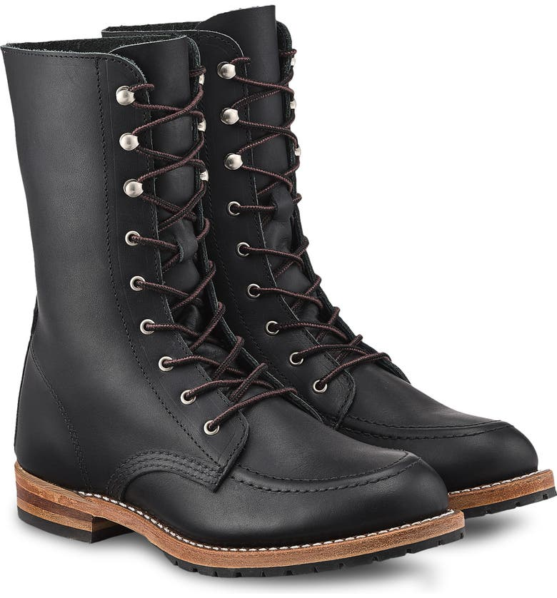 RED WING Gracie 8-Inch Moc Boot, Main, color, BLACK BOUNDARY