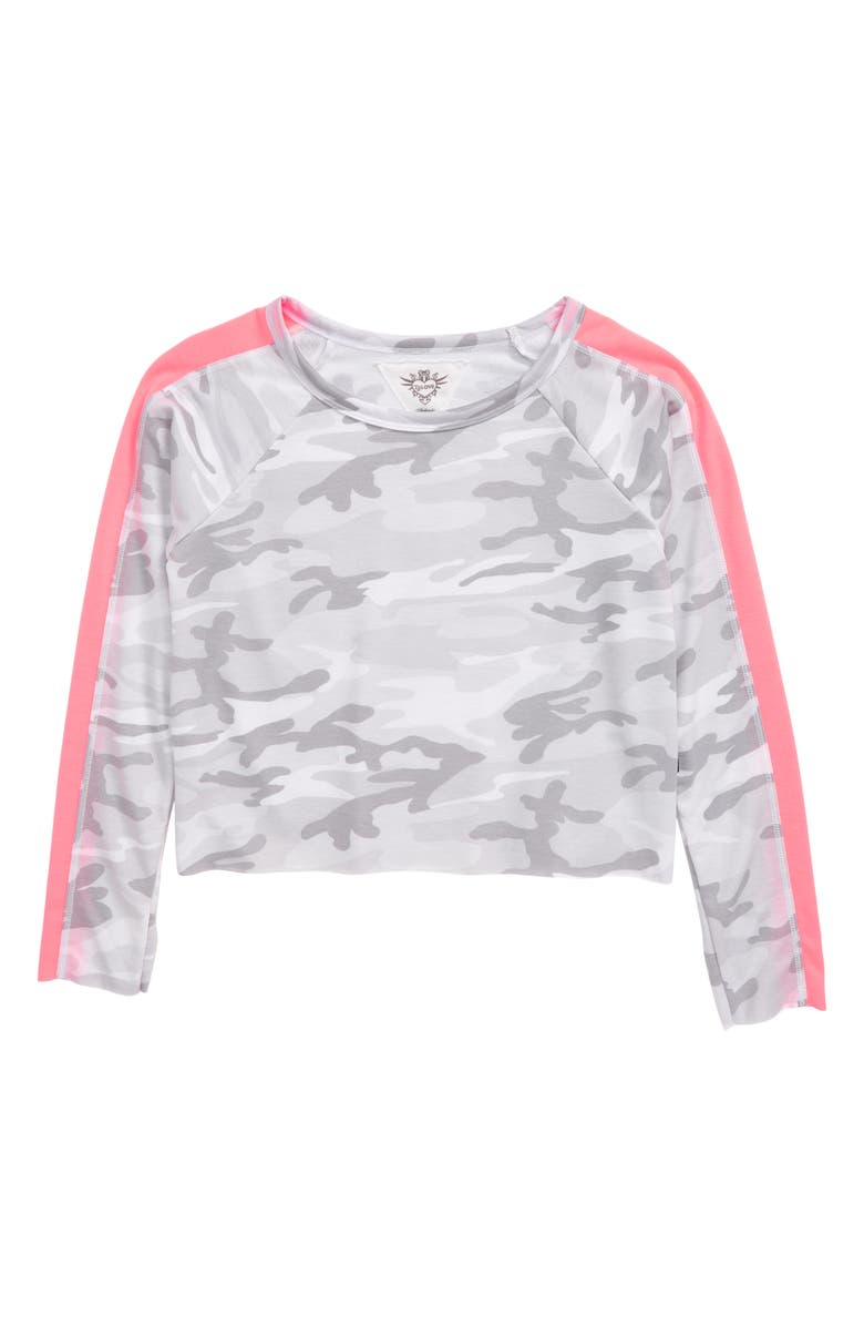 T2 LOVE Camo Raw Edge Sweatshirt, Main, color, CAMO/ NPINK