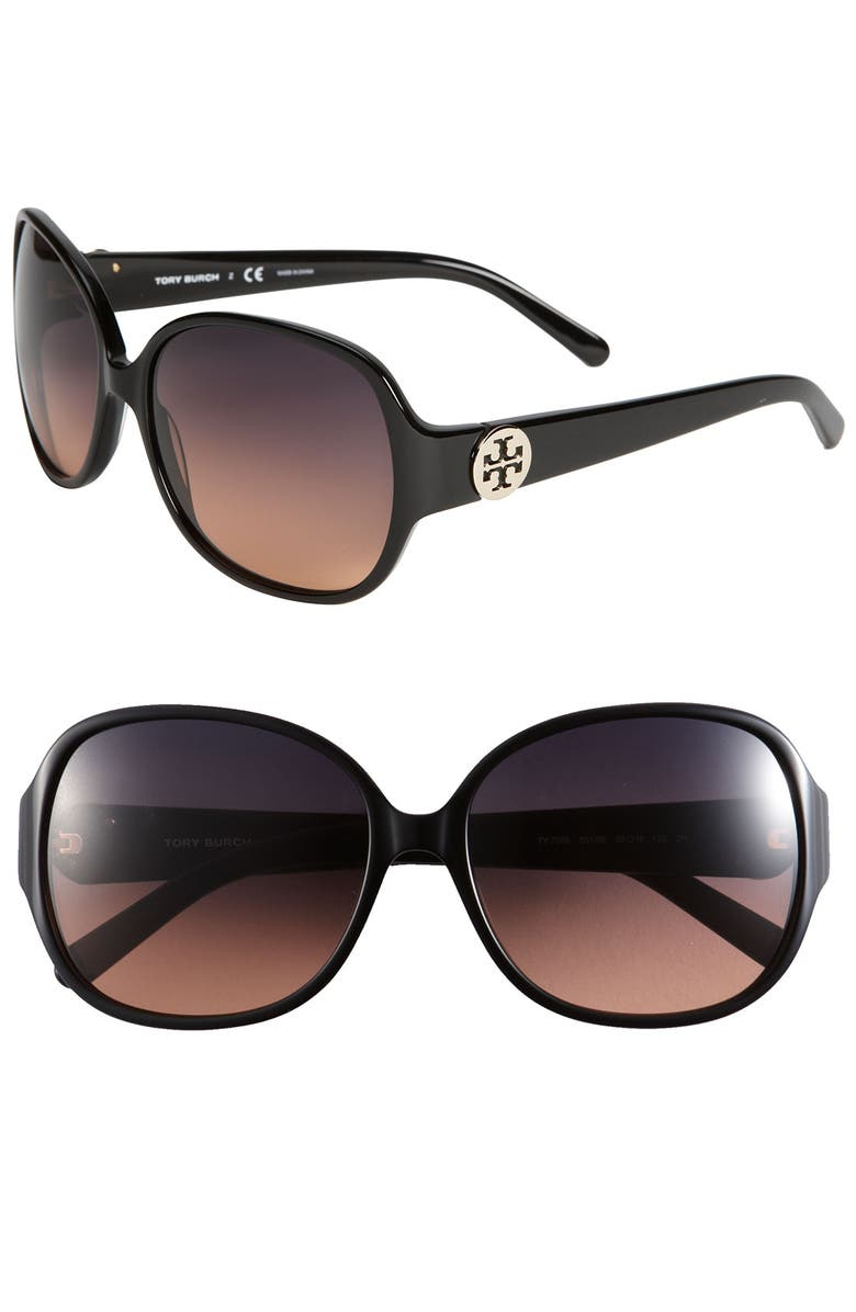 TORY BURCH 59mm 'Disco Logo' Rounded Sunglasses, Main, color, 003