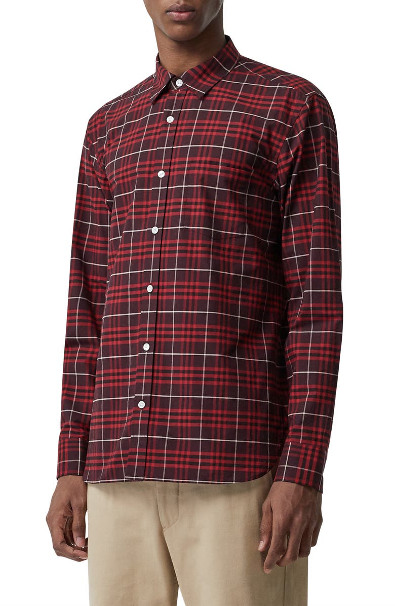 BURBERRY George Slim Fit Check Sport Shirt, Main, color, 600
