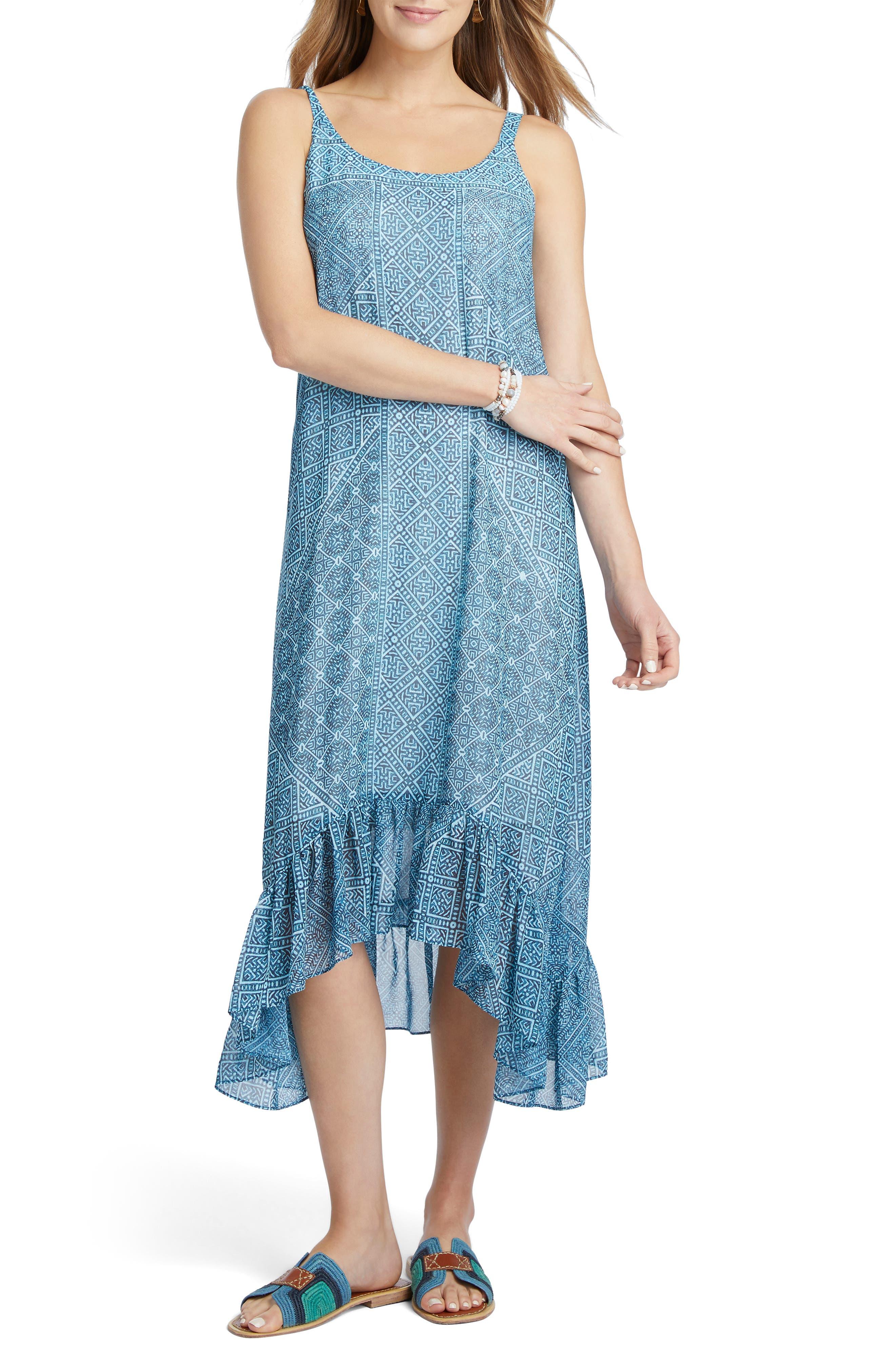 Petite Nic+Zoe Santorini Tiles Sundress, Blue