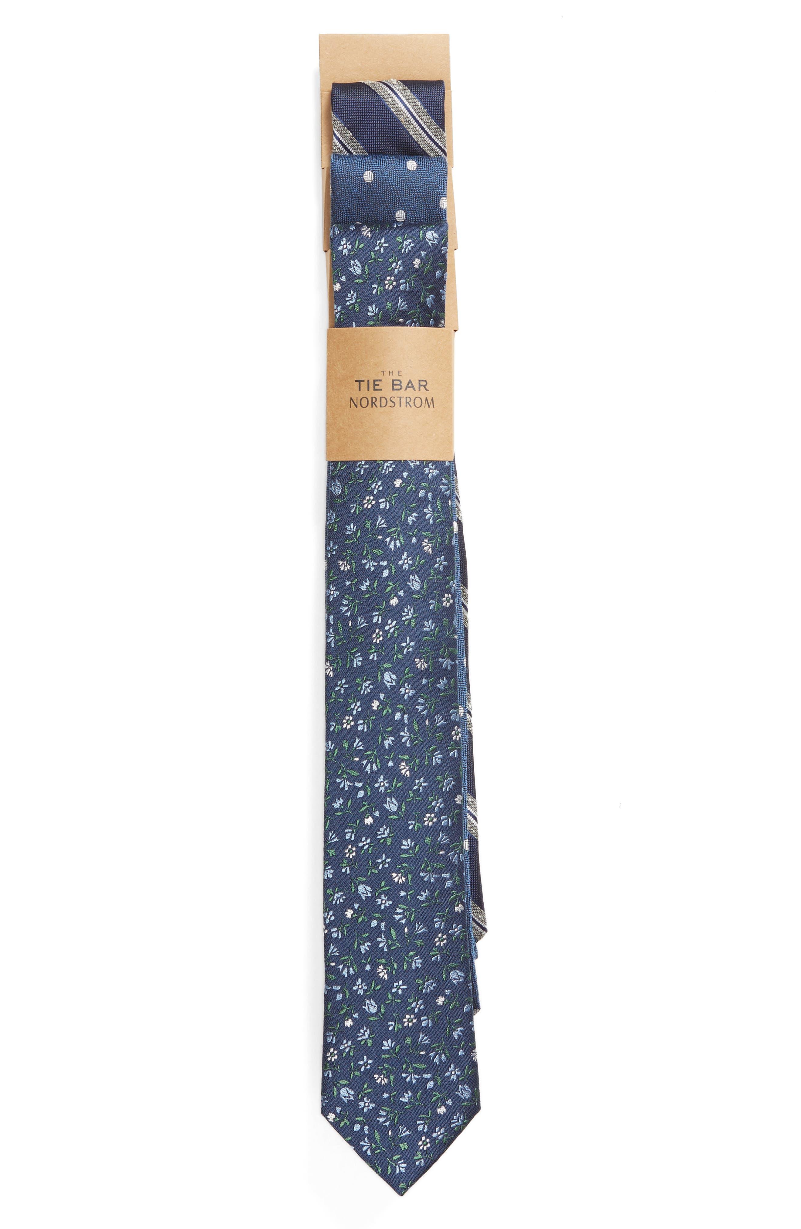 ,                             3-Pack Navy Tie Gift Set,                             Alternate thumbnail 2, color,                             NAVY