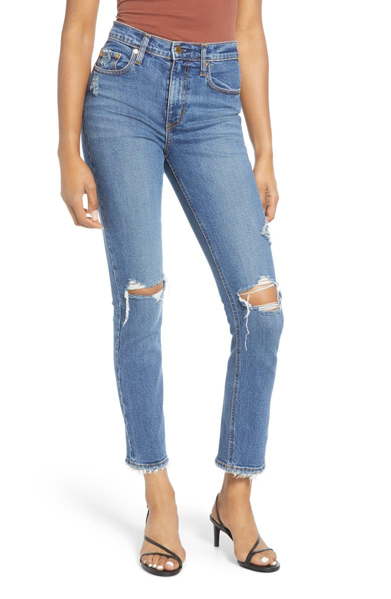 NOBODY DENIM True High Waist Ripped Slim Ankle Jeans, Main, color, SENSATIONAL
