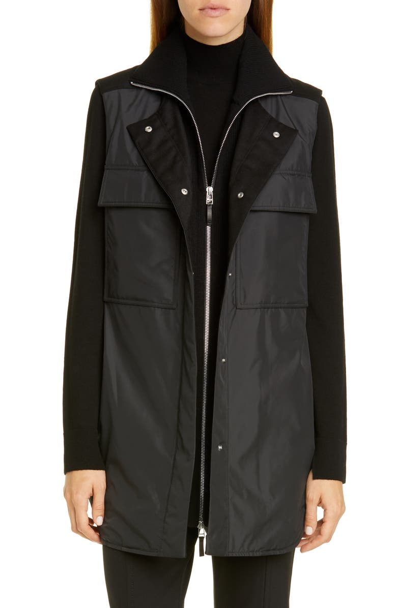 LAFAYETTE 148 NEW YORK Willis Vest with Knit Dickey, Main, color, BLACK