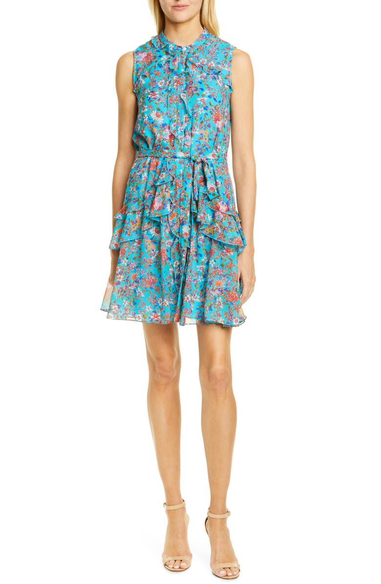 SALONI Tilly Ruffle Belted Minidress, Main, color, TURQUOISE ORNAMENTAL