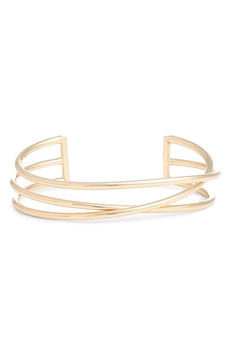 HALOGEN<SUP>®</SUP> Crisscross Metal Cuff, Main, color, GOLD