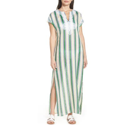 Tory Burch Awning Stripe Cover-Up Caftan, Green