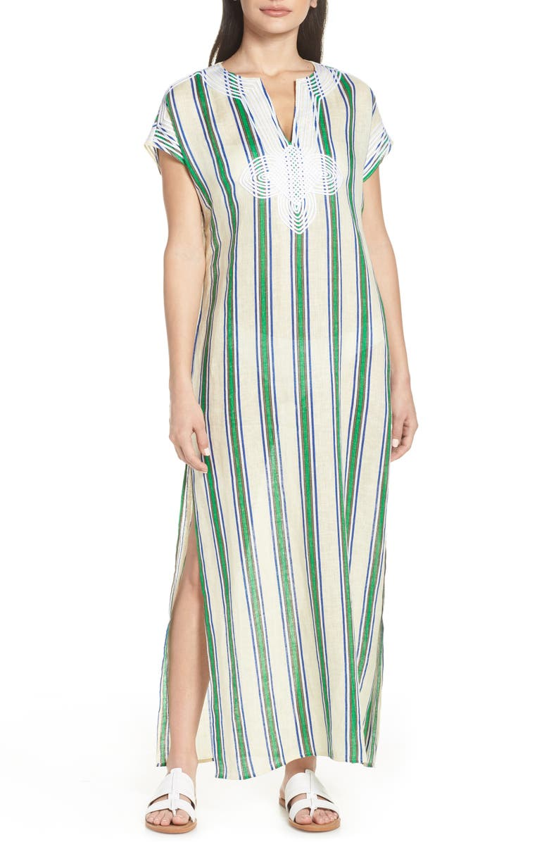 TORY BURCH Awning Stripe Cover-Up Caftan, Main, color, 300
