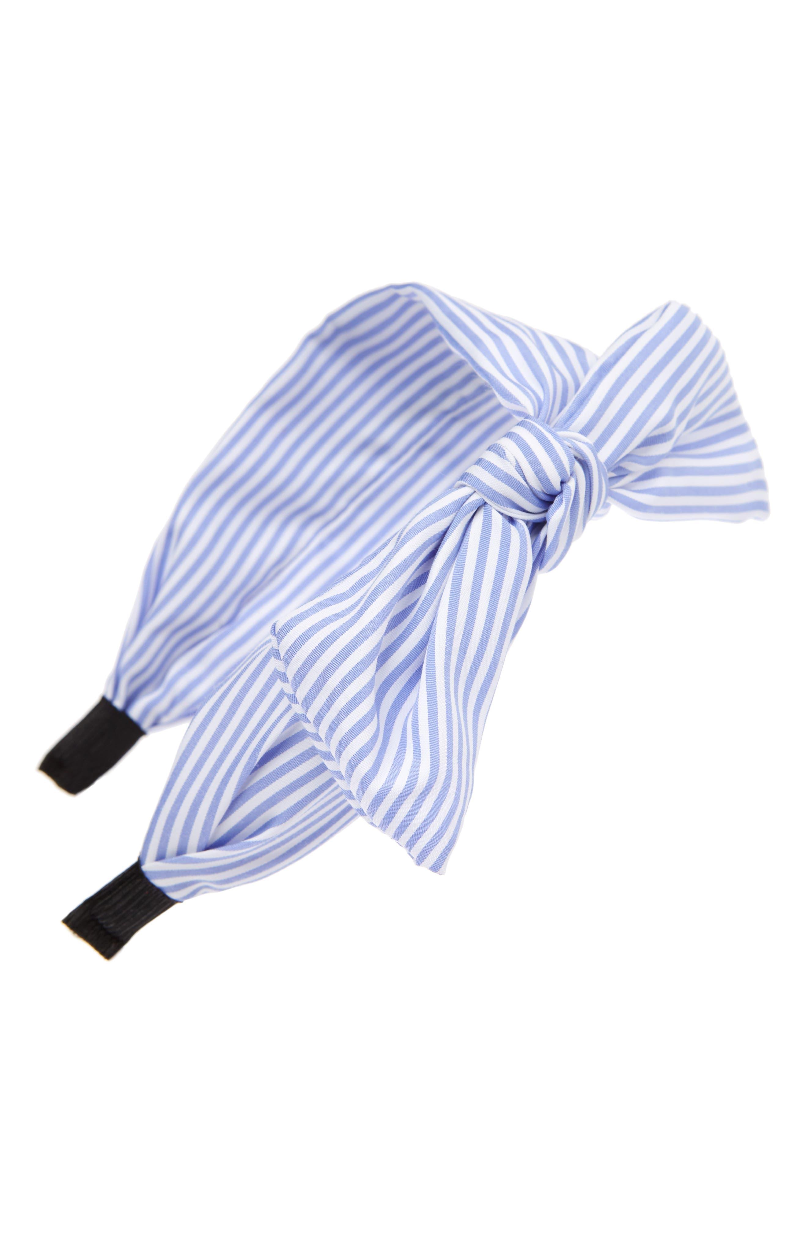 Pinstripe Bow Headband, Main, color, BLUE