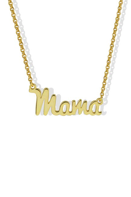 """Image of Argento Vivo 18K Gold Plated Sterling Silver """"Mama"""" Pendant Necklace"""