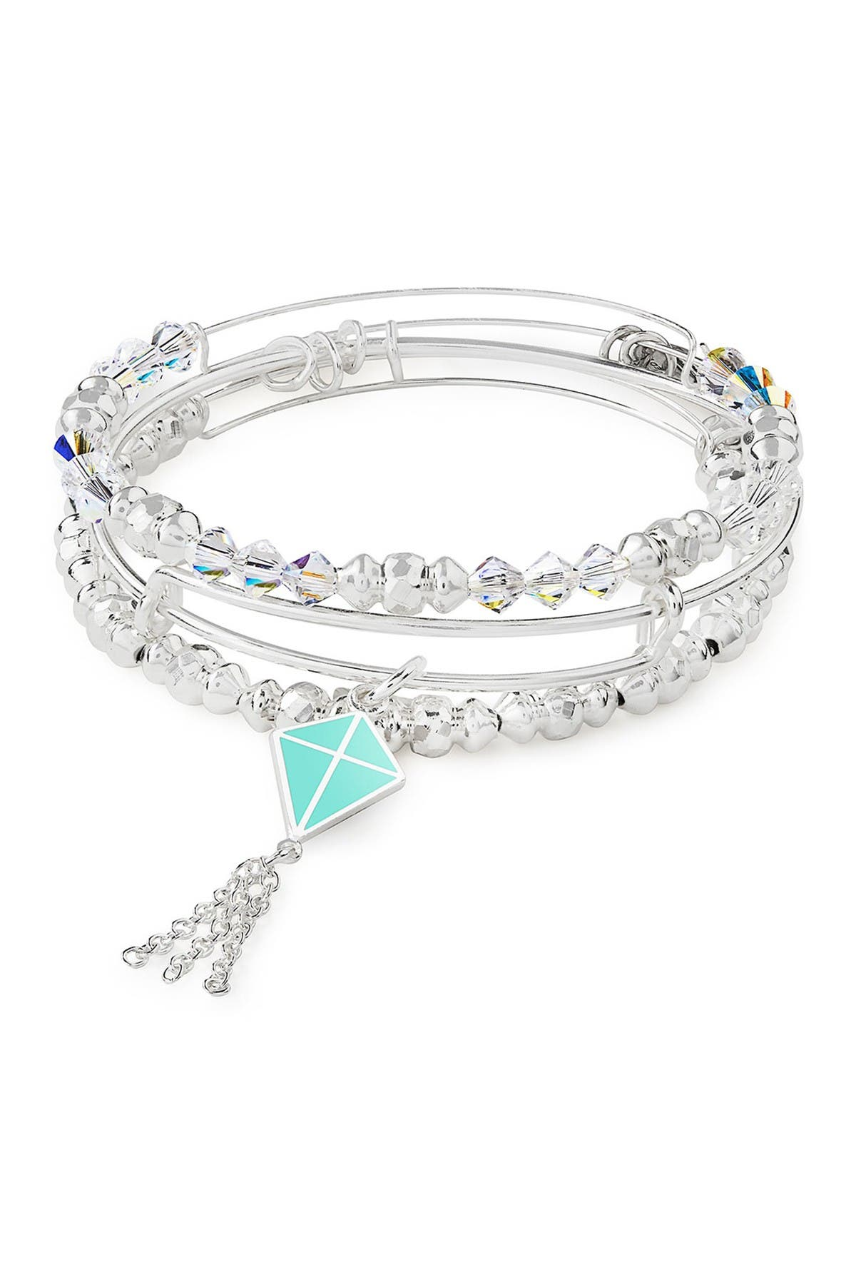 Image of Alex and Ani Charity By Design In Flight Charm & Beaded Expandable Wire Bracelet Set
