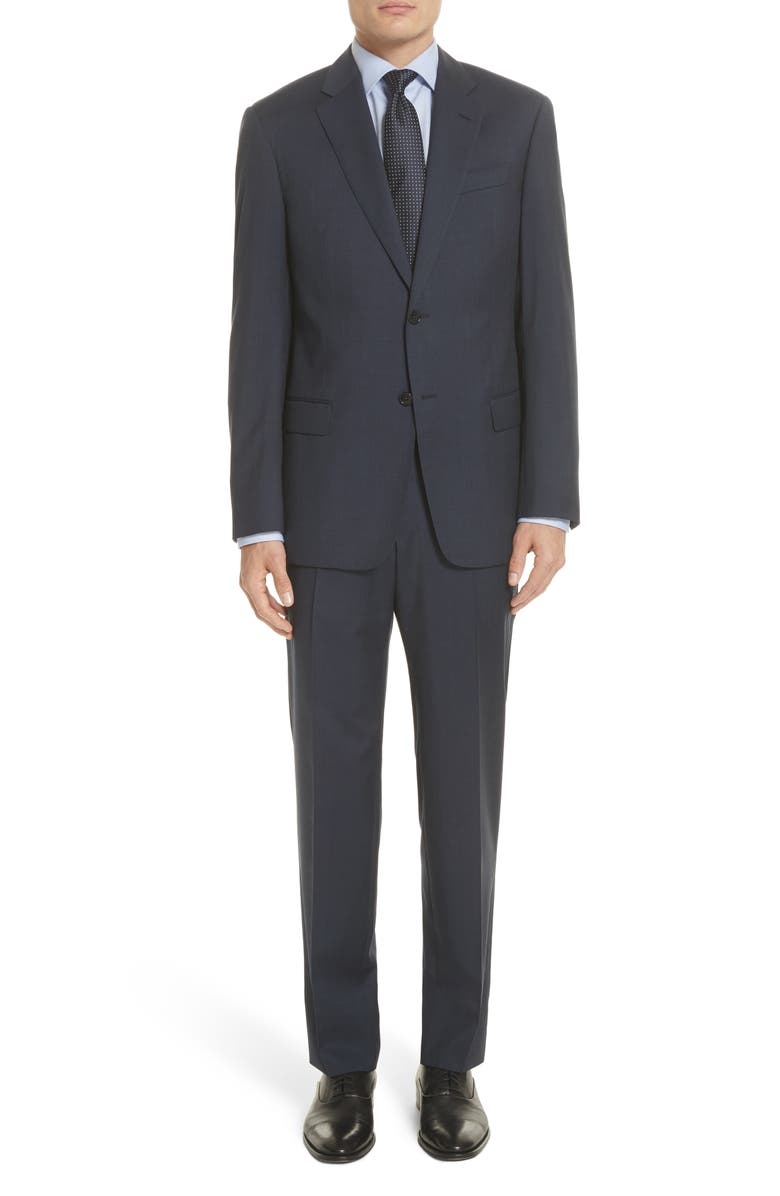 EMPORIO ARMANI Trim Fit Sharkskin Wool Suit, Main, color, MID BLUE