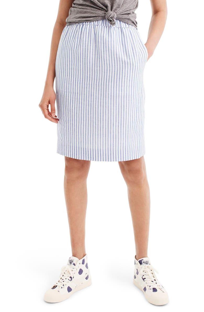 J.CREW Pull-On Stripe Skirt, Main, color, 400