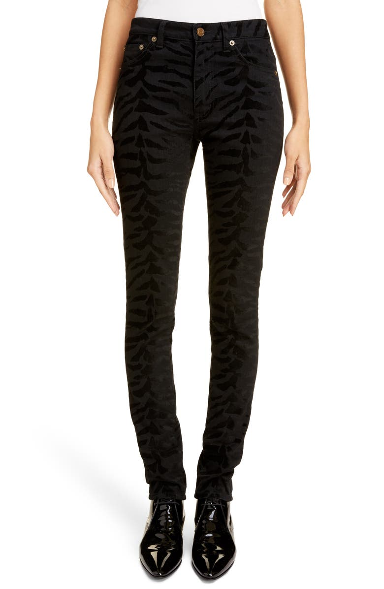 SAINT LAURENT Animal Pattern Skinny Jeans, Main, color, BLACK / BLACK ZEBRA