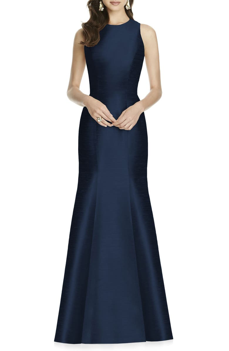 ALFRED SUNG Dupioni Trumpet Gown, Main, color, MIDNIGHT