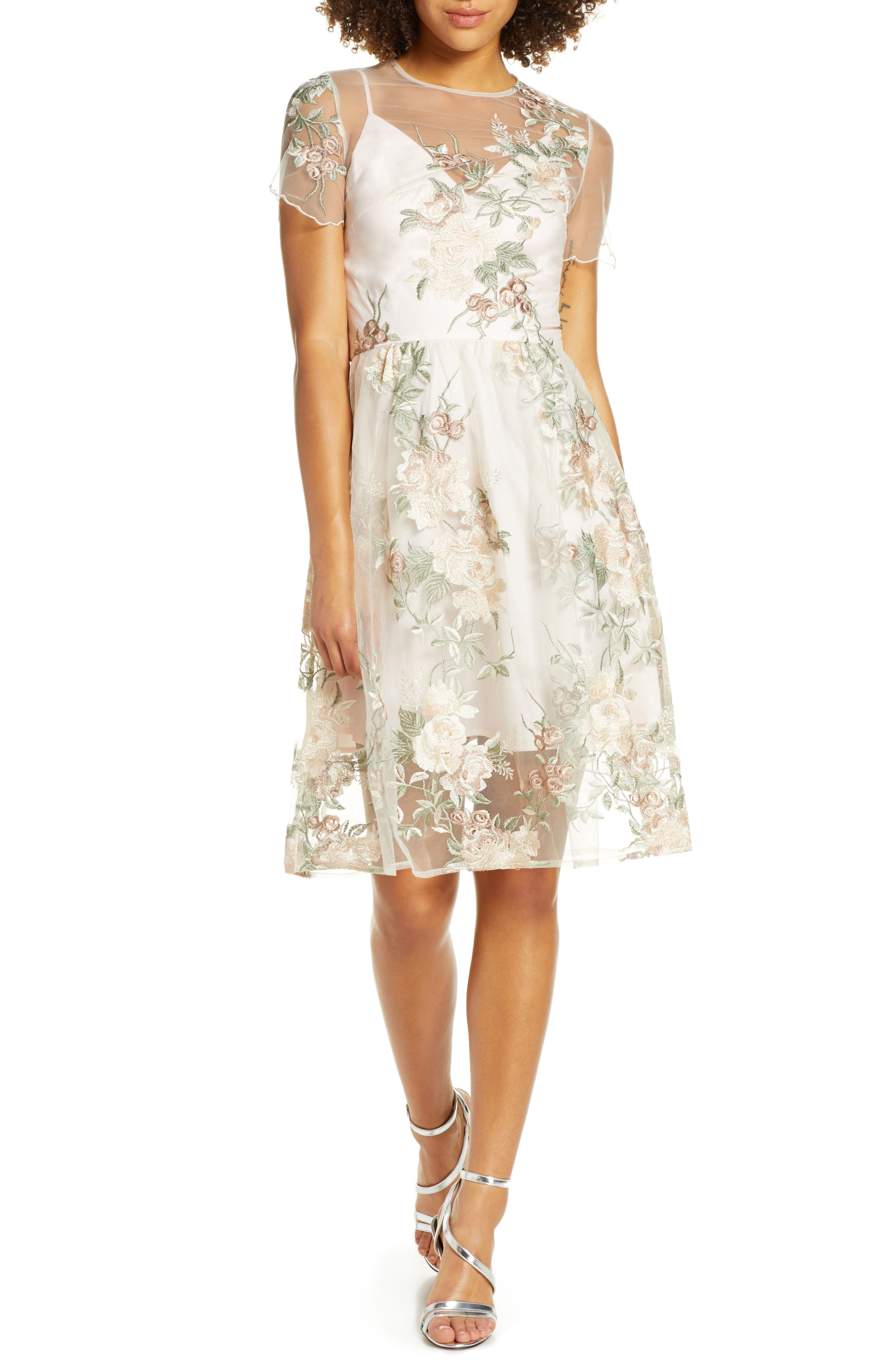 Chi Chi London Bryanna Fit & Flare Dress, Beige