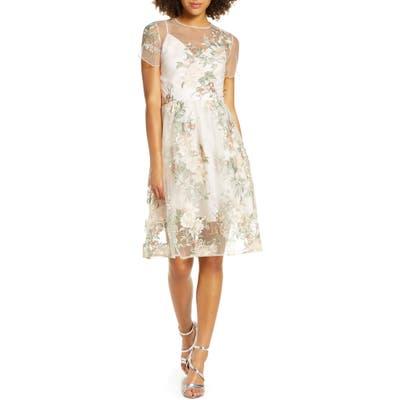 Chi Chi London Bryanna Fit & Flare Dress, Beige