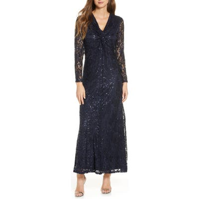 Tahari Long Sleeve Lace Gown, Grey