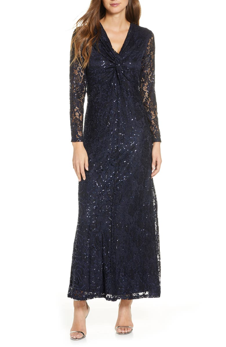 TAHARI Long Sleeve Lace Gown, Main, color, NAVY